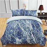 RHXX Blau Marmor Bettbezug Set Mit 2 Kissenbezügen Mikrofaser Antiallergisch 3 Stück Steinmuster Bettwäsche Passend Für Hauptschlafzimmer,200 * 200cm