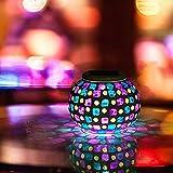 SUAVER Bunte Sphärische Mosaik Lampe Solarlampe,Wasserdichte Gartenleuchten LED Magic Kugel Leuchten LED Dekoration Beleuchtung Bunte Tischlampe für Garten, Patio, Tabelle, Zimmer (Rotes & blaues)