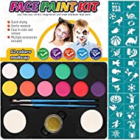 SUPVOX Professional Face Painting Kits Body Face Paint Set with Stencils Sponge Glitters Non-Toxic Water-Based Colors for Costumes Parties Festivals