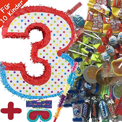 Preisvergleich Produktbild Pinata Set: * ZAHL 3 * mit + Maske + Schläger + 100-teiliger Süßigkeiten-Füllung No.1 von Carpeta© / / Handgefertigte spanische Pinata. Tolles Spiel für Kindergeburtstag oder Mottoparty