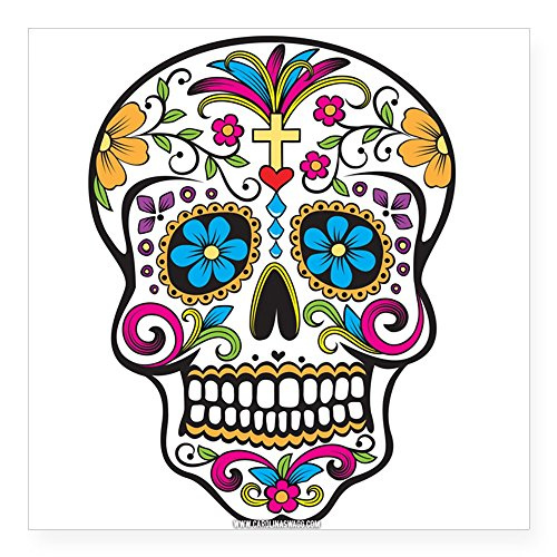 CafePress Day Of The Dead Sugar Skull; Halloween Sticker quadratisch Aufkleber 3 x 3, weiß, 5x5