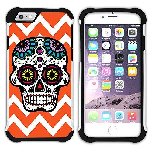 Graphic4You Mexikanische Zuckerschädel Tod Winkel Muster (Wasserblau) Hart + Weiche Kratzfeste Hülle Case Schale Tasche Schutzhülle für Apple iPhone 6 / 6S Orange