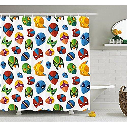 ang für die Dusche von, legendären Film Charakter Masken Flash Batman Spider-Man Comic Kostüm Print, Stoff Badezimmer Decor Set mit Haken, multicolor 152,4x 182,9cm, 72