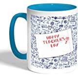 Happy teachers day Printed Coffee Mug, Turquoise Color (Ceramic)