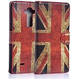 tinxi® Kunstleder Tasche für LG G Flex 2 Tasche Flipcase Schutzhülle Cover Schale Etui Skin Standfunktion mit Karten Slot UK Flagge