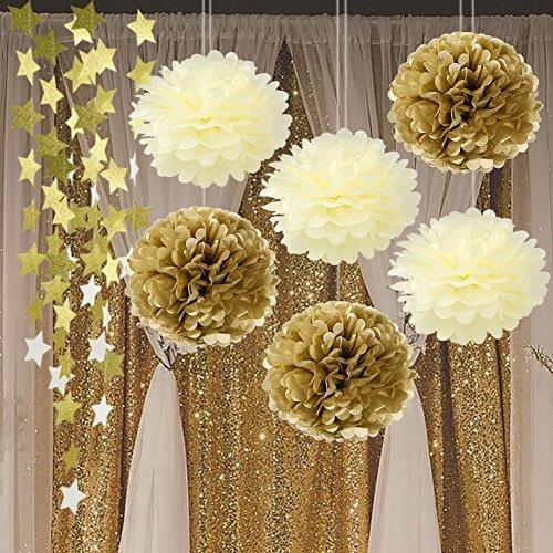 Gold Cream Seidenpapier Pom Poms Twinkle Twinkle Little Star Geburtstag Party Dekoration Gold Twinkle Star Girlande, Papier, Blume für Hochzeit, Baby Dusche (Twinkle Little Star Baby-dusche Dekorationen)