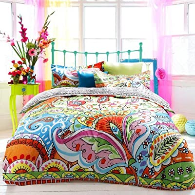 Sisbay Unique Bedding Exotic Ethnic Barcelona,Modern Duvet Cover,Gorgeous Active Print Bed Set,Queen King,4pcs
