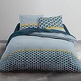 Today–Juego de cama 2personas 100% Hello dibujo Prusia funda nórdica de 240x 220cm, 2fundas de almohada de 63x 63cm, algodón, azul turquesa, amarillo, 220x 240cm