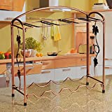 fashion elegant beautiful simple iron plating wine racks bronze goblets shelf single / double choice decorate a variety of places accommodate 8 goblets +4 bottles of wine / 8 goblets +8 bottles of wine gift ( Size : Height 40.5CM )