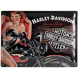 Nostalgic-Art H D Biker Babe Red Placa Decorativa, Metal, Negro y Rojo, 30 x 40 cm