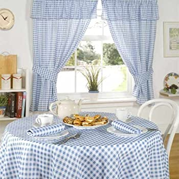 Elegant Emma Barclay Molly Gingham Check Kitchen Pencil Pleat Curtains, Blue, 46 X  42 Inch