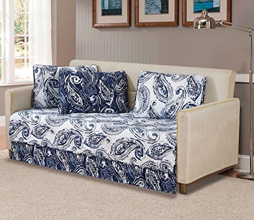 K&M MK Home Tagesdecke Gesteppte Print Blumen Paisley Weiß Marineblau Blau Wendbar über Größe Neu # Ellen Daybed White, Navy Blue