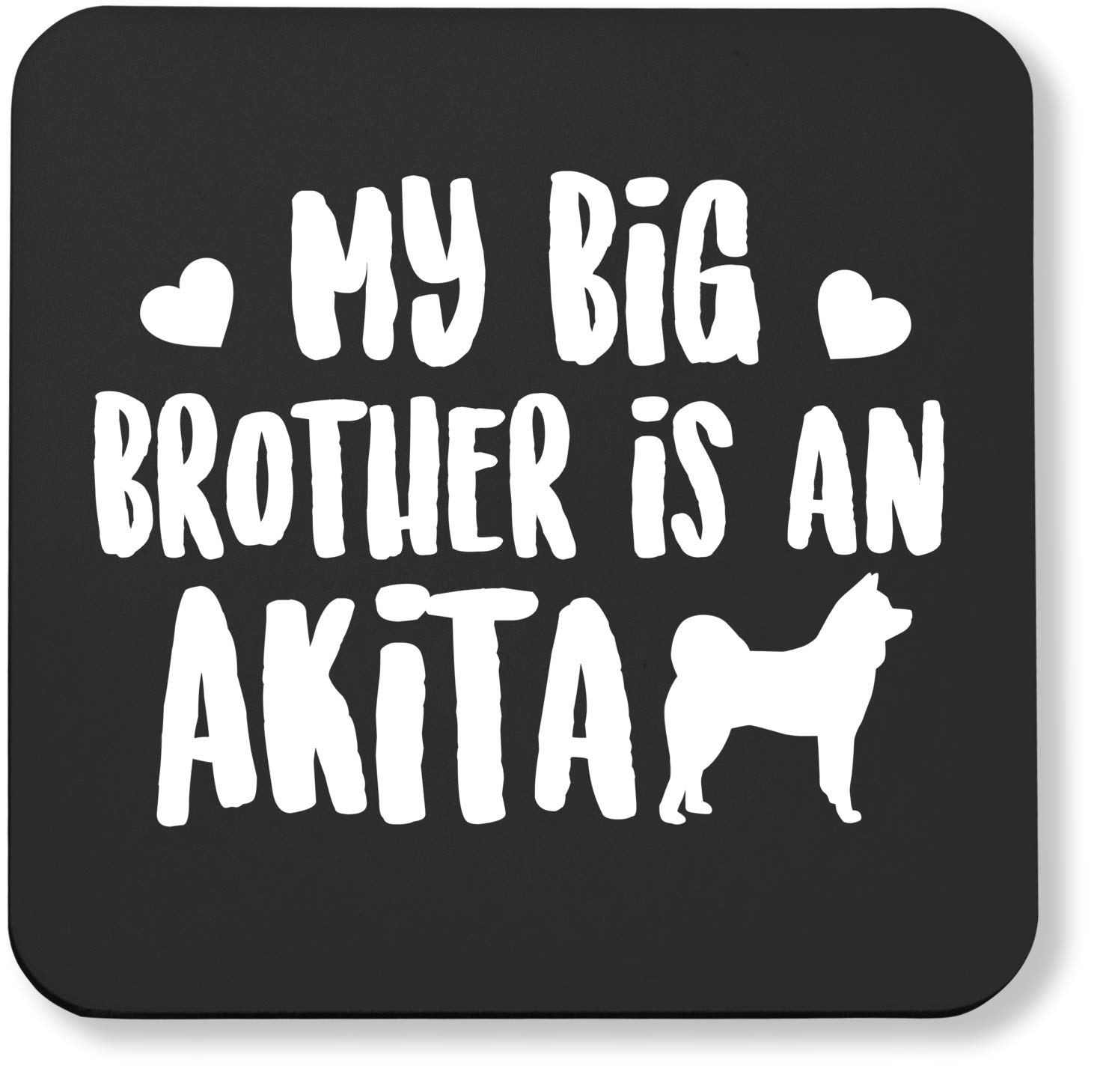 Hippowarehouse My big brother is an Akita printed coaster gloss finish durable backing 9cm x 9cm