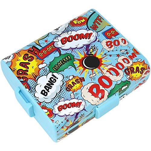 COM-FOUR® Brotdose im Comic-Design für Unterwegs, Lunch-Box mit Trennwänden, 19,5 x 17,5 x 6,5 cm (01 Stück - Comic)
