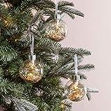Lights4fun - Juego de 3 Bolas de Navidad de Vidrio con Purpurina Dorada con LED Bianco...