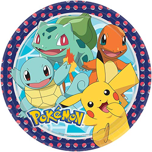Amscan International 9904820 Amscan Lot de 8 assiettes rondes en papier Motif Pokémon