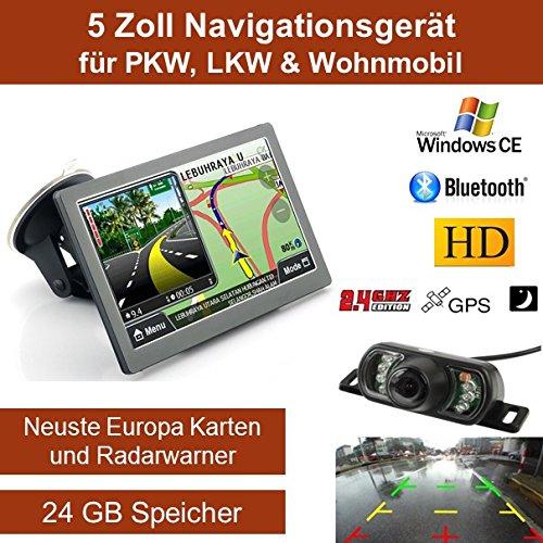 Elebest 12,7cm 5 Zoll Navigationsgerät, mit 24 GB Speicher, Für PKW,LKW&Wohnmobil,GPS,Navigation,Funk Rückfahrkamera 7 LED´s, AV-IN, Bluetooth, Erweiterbarer Speicher, Fahrspurassistent, Geschwindigkeitsanzeige,Neuste Karten sowie Radarwarner