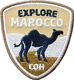 2 x Marokko Abzeichen gestickt 55 x 60 mm / Explore Marocco Backpacker Trekking Reise Nordafrika Kamel Wüste Sahara Oase / Aufnäher Aufbügler Sticker Flicken Patch / Reiseführer Landkarte Karte Buch