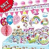 UNICORNO arcobaleno KIT completto per il compleanno dei bambini, set di 85 pezzi decorazione tavola di festa  party a tema motto UNICORNO per 8 ragazze o ragazzi