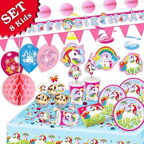 (EINHORN Regenbogen Geburtstag-Deko-Set, 85-teilig zum Kindergeburtstag Mädchen und EINHORN Motto-Party für 8 Kids)