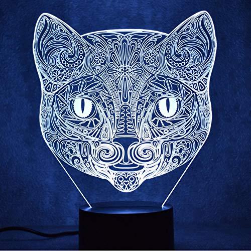 Nachtlicht 3D Illusion Licht Kreative Led Schlafzimmer Tischlampe Katze Kopf Form Touch Lade Geschenk Bunte Kinder Nachtlicht Hause Beleuchtung Dekoration