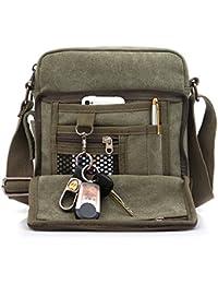 Outreo Borsa Tracolla Uomo Borse da Spalla di Tela Canvas Messenger Bag Vintage Sacchetto di Tablet Piccolo Borsello per Studenti Scuola Università Tasche Viaggio Outdoor Sport Tasca (Verde)