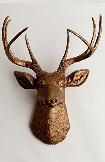 buy white faux taxidermy the alfred white resin deer sculpture head with metallic gold faux antlers wall decor online at low prices in india amazonin