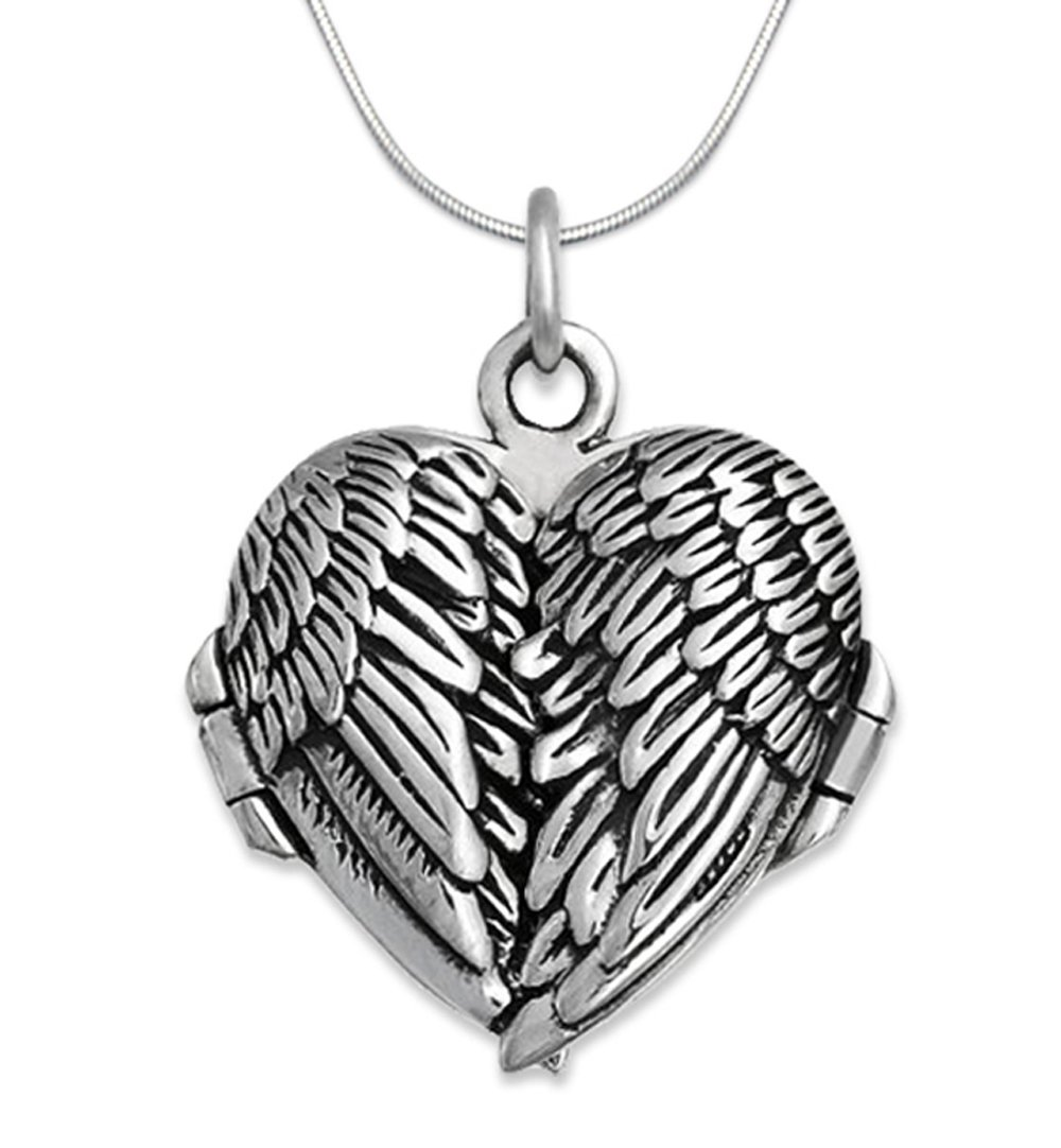 18 inch Snake Chain 925 Sterling Silver Angel Wings Pendant Necklace