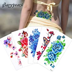 glaryyears 1 Sheet Colored Drawing Flower Body Tattoo Vitality Temporary Waterproof Rose Peony Tattoo Sticker for Women Back Art