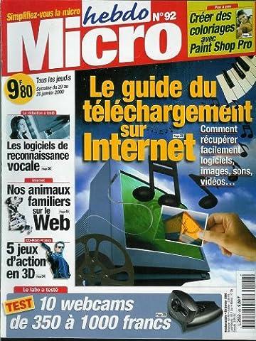 Micro hebdo - n°92 - 20/01/2000 - Le guide du téléchargement sur internet