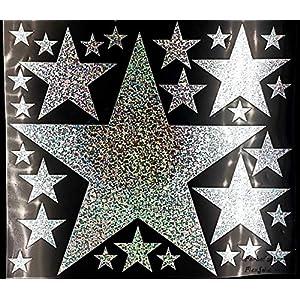 Bügelbild, Motiv: Sterne, Farbe: silber-regenbogen, Setgröße: maxi, heißsiegelfähige Flexfolie