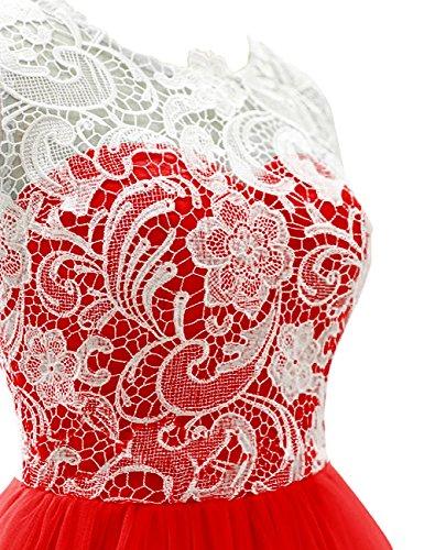 Dressystar Robe femme, Robe de soirée/Cérémonie courte, à fleur, en dentelle,tulle. Vert sauge