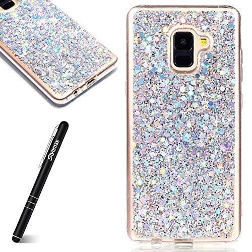 Coque Samsung Galaxy A8 2018 Plus,Slynmax Mince silicone Paillette Strass Brillante Glitter de Plein-Corps TPU Résistant à la Goutte Bumper Housse Etui de Fin Anti Choc pour Galaxy A8 2018 Plus Argent