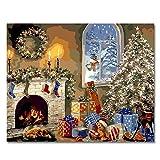 Malen nach, Zahlen DIY Ölgemälde Weihnachten Weihnachtsgeschenk Leinwand drucken Wandkunst Haus Dekoration Ohne Rahmen Von Rihe