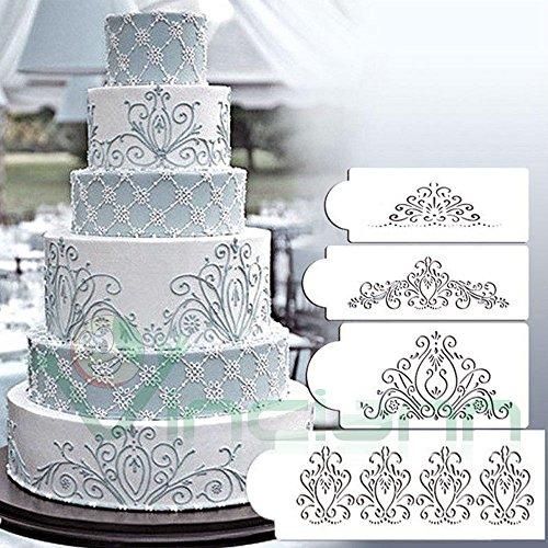 Kit 4X Stencil mascherina motivo ornamentale decorazione torta torte Cake Design