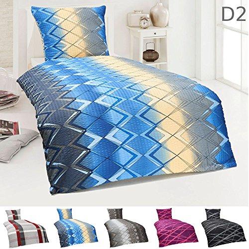 Dreamhome24 2 tlg Moderne Microfaser Seersucker Bettwäsche 135x200 Kissenbezug 80x80, Design - Motiv:Design 2, Größe:135 x 200 cm