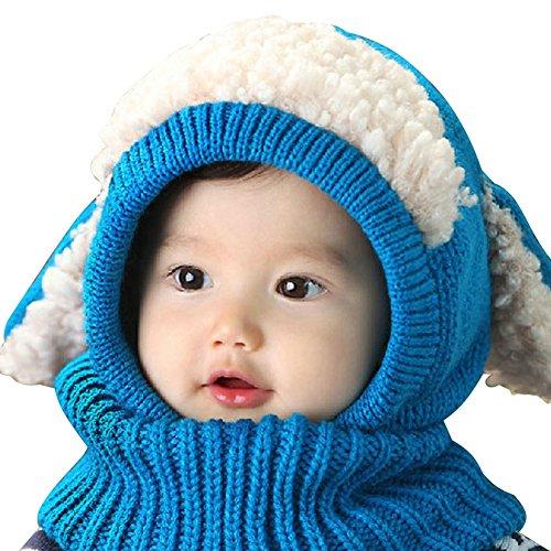 Imixcity BéBé Enfants Bonnet Hiver Chaud Chapeau Echarpe GarçOns Filles Chaudes Coif Laine Casquettes éCharpe Capuche en Laine Tricote Pour Ski Vélo VTT Protection 5 Couleurs Bleu