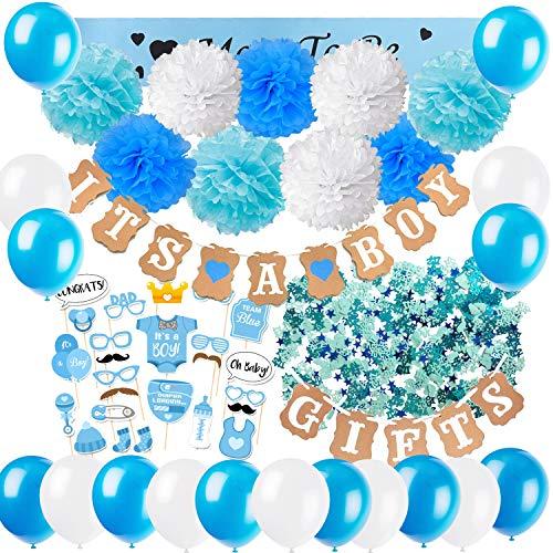 Zerodeco Baby Dusche Dekoration, It's A Boy und Gifts Girlande Banner mit Seidenpapier Pom Poms, Neugeborene Fotorequisiten Masken, Mum to Be Schärpe, Konfetti und Luftballons für Junge Baby Shower
