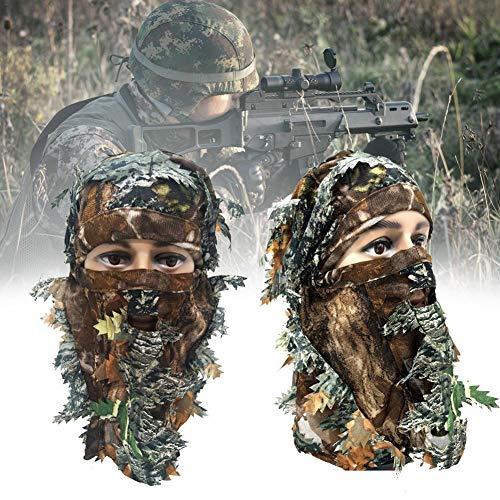 Camo Cap Camouflage Jagdmaske Hut, 3D Tarnung Dünne Atmungsaktive Hauben Blatt Stereo Camouflage Jagdmaske Hut Waldland Tarnung