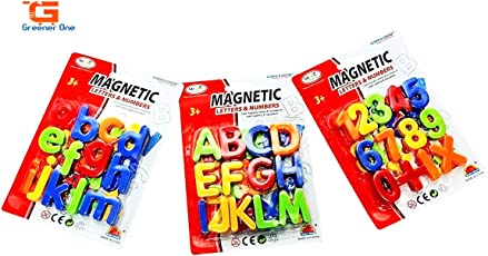 Greener Learning Magnetic Alphabets & Numbers Kids Educational Set 78 Pieces (Multi Colour - Pack of 3 Set) - Big + Small & Numbers