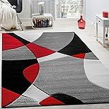 Alfombra De Diseño Moderna Estampado Geométrico Contorneada En Rojo Negro Gris, tamaño:160x230 cm
