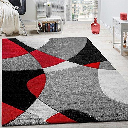 Alfombra De Diseño Moderna Estampado Geométrico Contorneada En Rojo Negro Gris, tamaño:120x170 cm