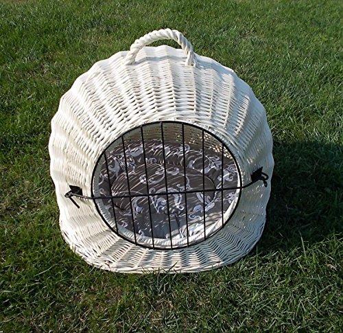 Katzenkorb aus Weide Weiß Gebleicht | Größe L 50x40x45 cm | abnehmbares Metall-Gitter Transportkorb/Transportbox für Katzen Hunde | Katzenhöle Hundebett