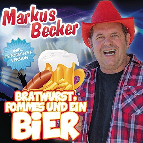 Bratwurst, Pommes und ein Bier