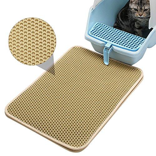 Pawaca Katzenstreu-Matte, doppelte, wabenförmige Füttermatte für Katzen, fängt den Katzenstreu auf, wasserdicht, 40x 50cm cremefarben