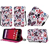 HR Wireless Cell Phone Case for Alcatel Dawn Acquire - Colorful Butterfly Flower Polka Dot Floral