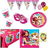 MIA AND ME Partyset Teller Becher Servietten Tischdecke Masken Girlande Luftballons 76 Teile für 12 Kinder