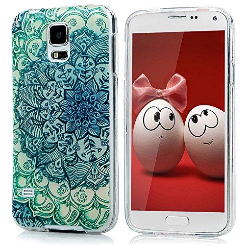 Funda para Samsung Galaxy S5 i9600 Funda de GEL TPU Silicona - YOKIRIN Carcasa Cover Anti-deslizante Case (Mandala Totem Flores)
