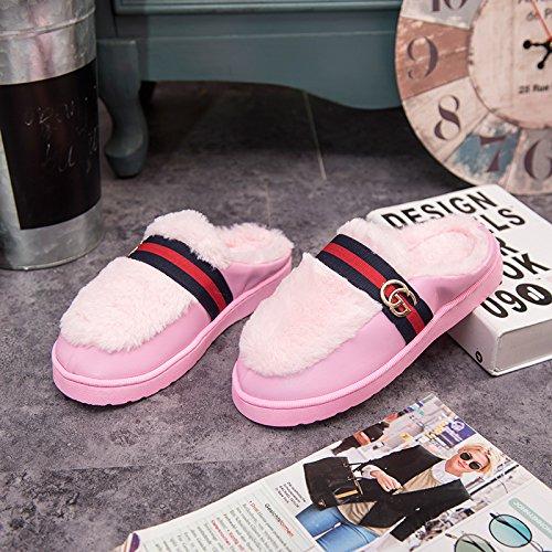 DogHaccd pantofole,Cotone felpato pantofole femmina soggiorno invernale coppie calde pantofole uomini e bella pelle pantofole indoor anti-slittamento non a pavimento Rosa1