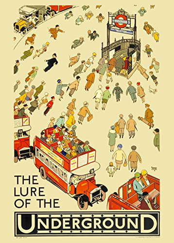 Vintage London Underground The Lure Of The Underground, 250 g/m², glänzend, A3, vervielfältigtes Poster (Lures Vintage)